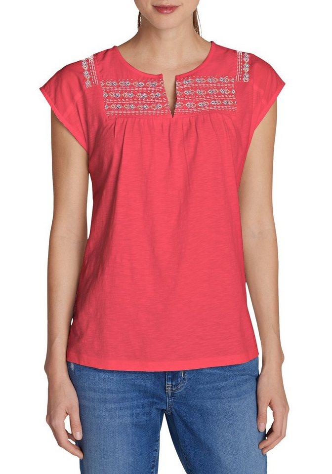 Damen Eddie Bauer  T-Shirt Laurel Canyon besticktes Shirt rot | 04057682112923