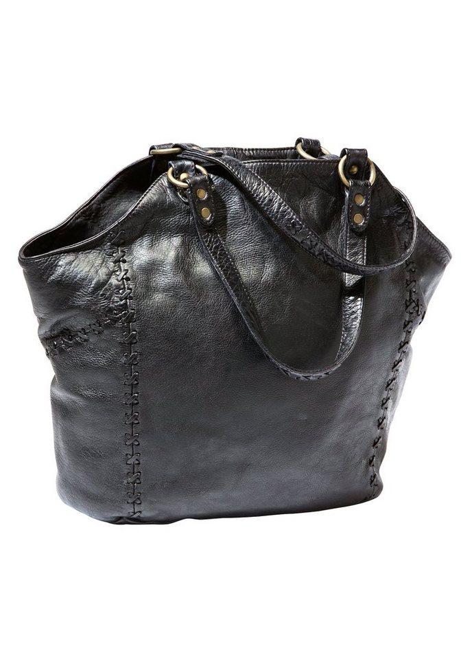 Damen Eddie Bauer Abendtasche Ledertasche mit Ziernähten schwarz   04250583272929