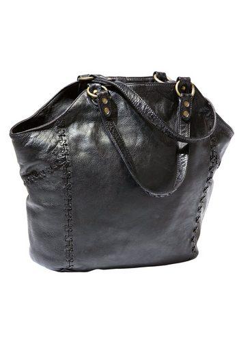 Damen Eddie Bauer Abendtasche, Ledertasche mit Ziernähten schwarz | 04250583272929