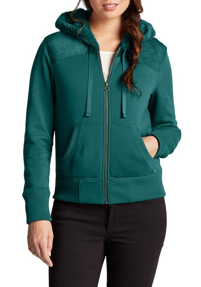 Damen Eddie Bauer  Sweatshirt Kapuzenjacke mit Sherpafutter grün | 04045785341432