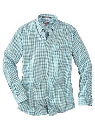 Eddie Bauer Knitterarmes Pinpoint-Oxfordhemd - Relaxed Fit - Blautöne