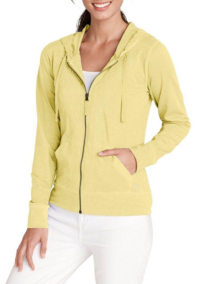 Damen Eddie Bauer  Sweatshirt Kapuzenjacke bestickt gelb | 04045785293618