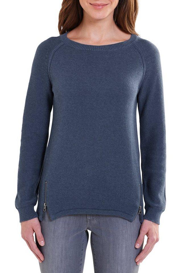 Damen Eddie Bauer  Strickpullover Pullover mit Reißverschlüssen blau | 04045785344143