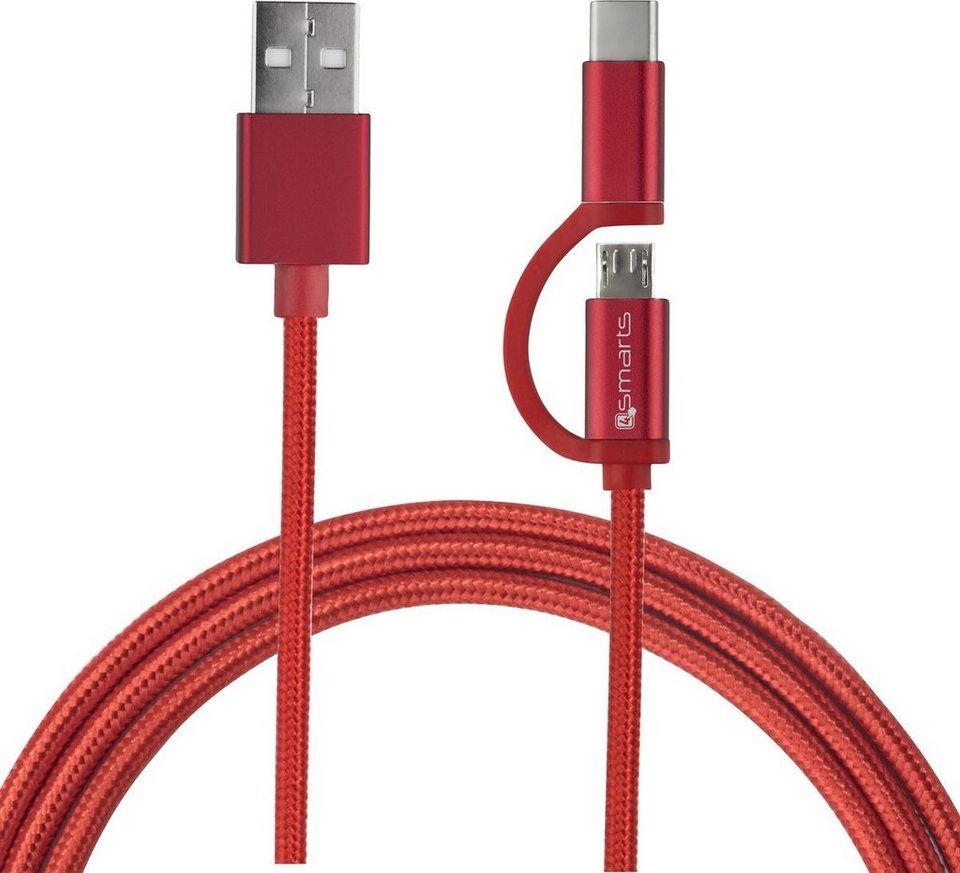 4Smarts Lader »Micro-USB & USB-C Kabel ComboCord 1m, Textil« online ...