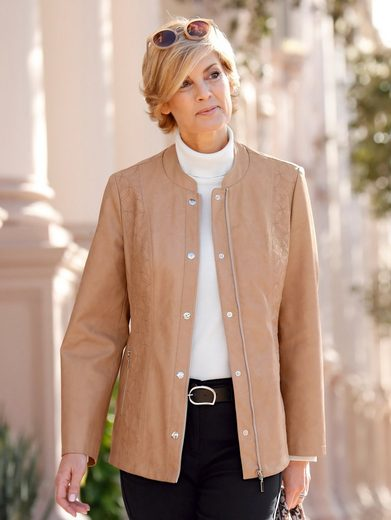 Paola Faux Leather Jacket With Embroidery