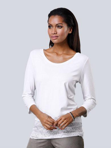 Alba Moda Shirt mit breitem Spitzensaum