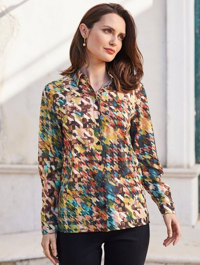 Mona Bluse mit Hahnentrittmuster