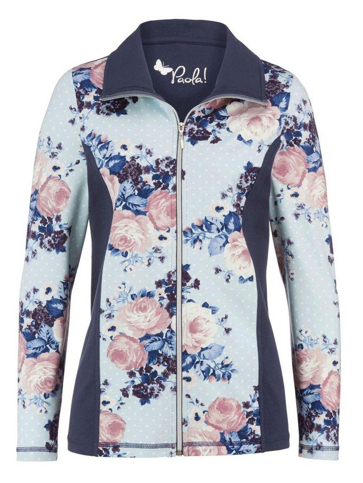 Damen Paola Shirtjacke mit modernem Rosen-Druck blau | 04055715141964