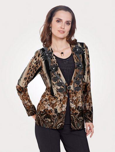 Mona 2in1-Shirt mit Strass-Steinen und Zierblüten