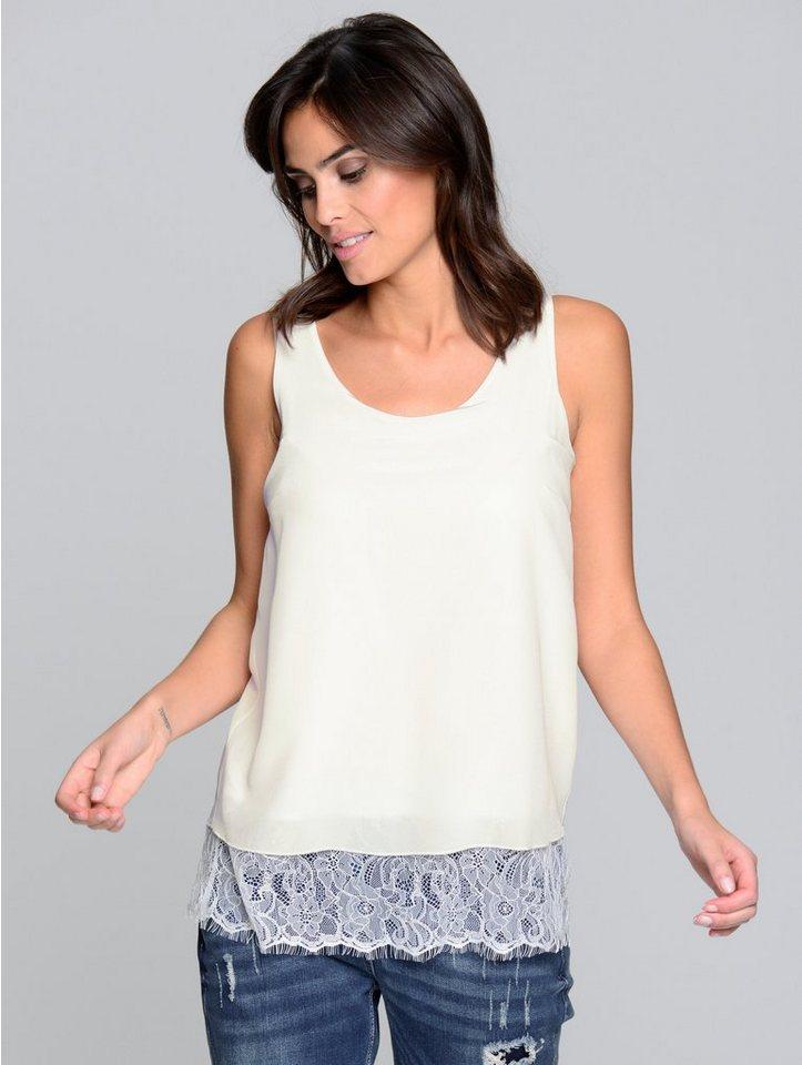 Damen Alba Moda  Top mit Blende aus elastischer Spitze weiß | 04055715506091