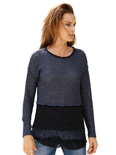 Amy Vermont Pullover im Materialmix