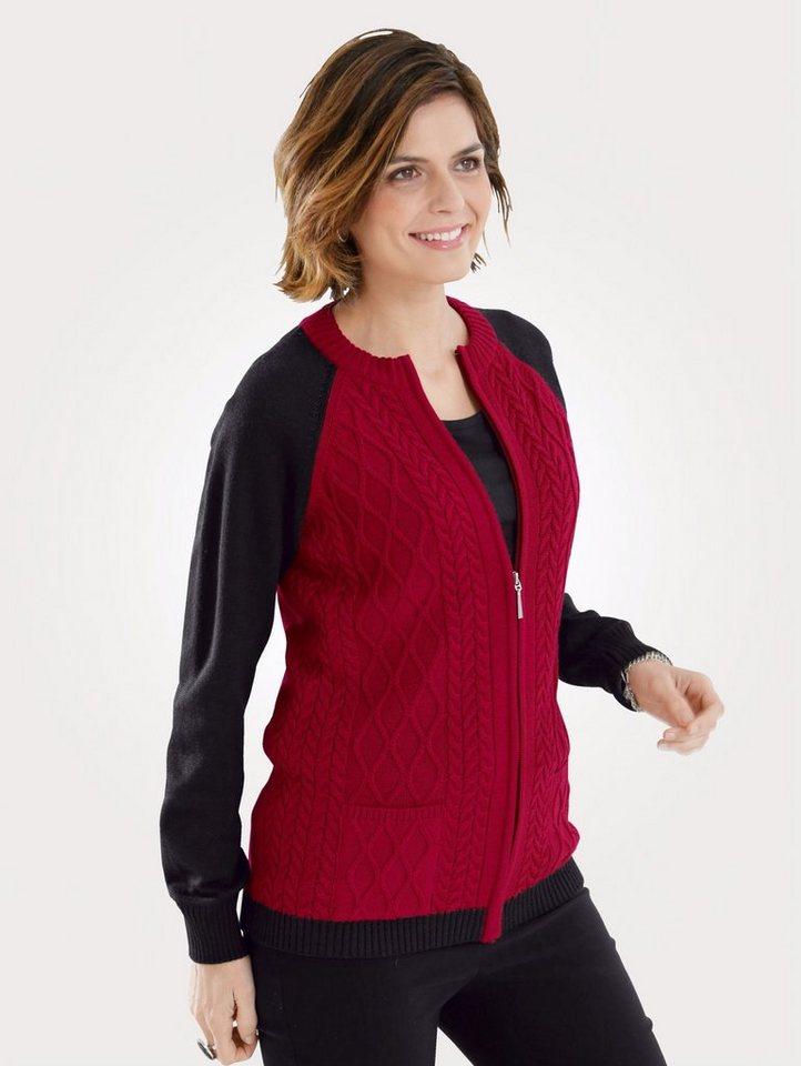 Damen Mona Strickjacke mit Zopf-und Strukturstrick rot   04055715346468