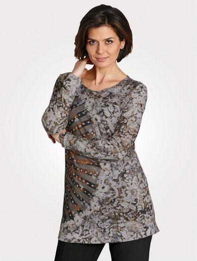 Mona Longshirt mit dekorativem Druckmix
