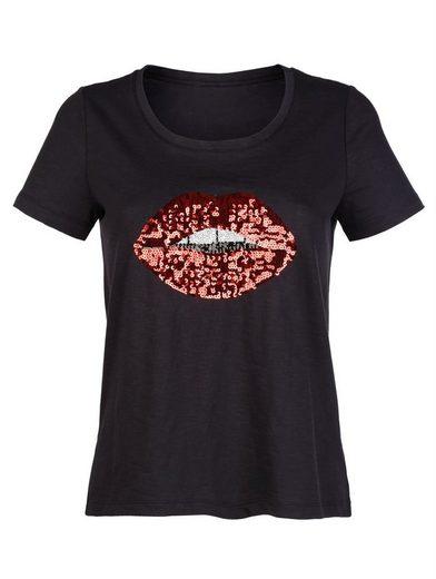 Alba Moda Basic-Shirt mit Kussmund-Motiv aus Pailletten