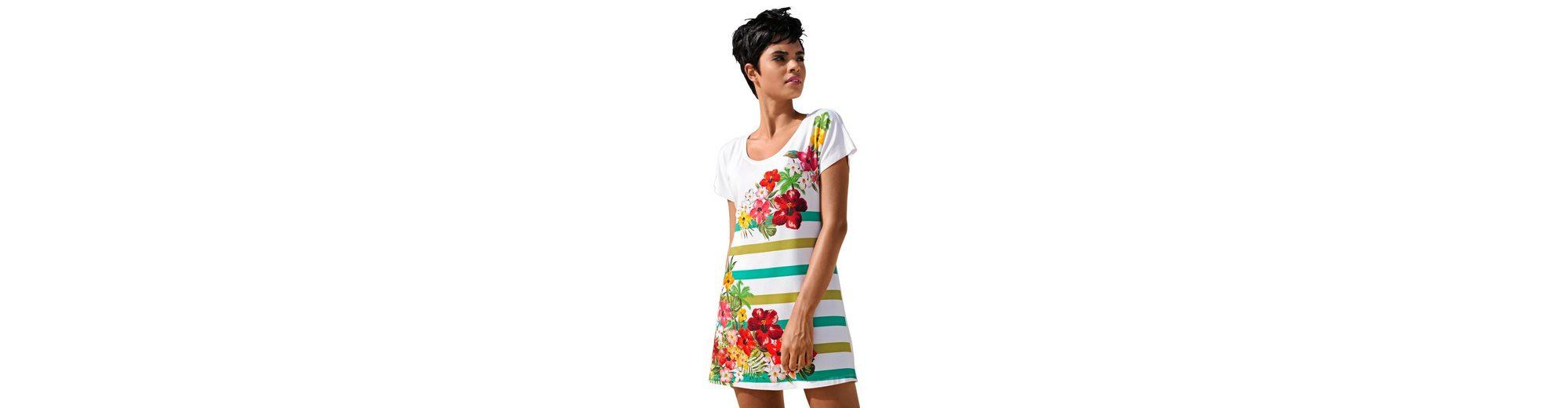 Alba Moda Gestreiftes Strandshirt Strandshirt mit Blumen und Streifen Billig Verkauf Beliebt Verkauf Sast Niedrigster Preis Günstig Online UmLGd8U