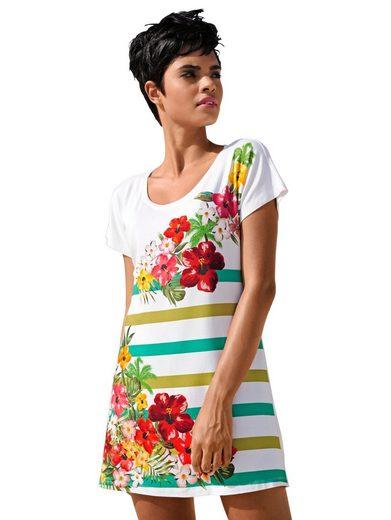 Alba Moda Gestreiftes Strandshirt Strandshirt mit Blumen und Streifen