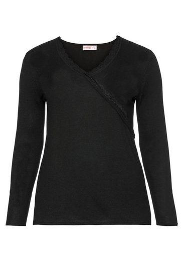 sheego Style V-Ausschnitt-Pullover, in Wickeloptik
