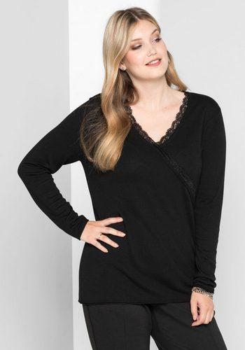 Damen sheego Style V-Ausschnitt-Pullover in Wickeloptik schwarz | 04054697980165