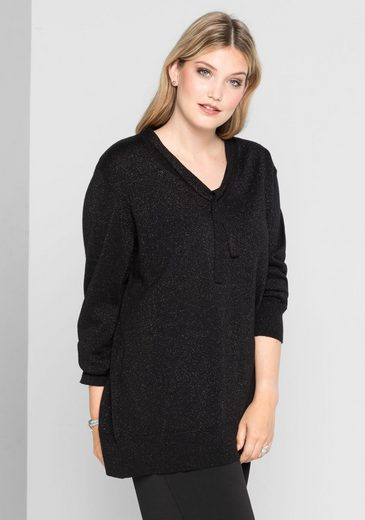 Anna Scholz For Sheego V-neck-sweater, With Gloss Effect