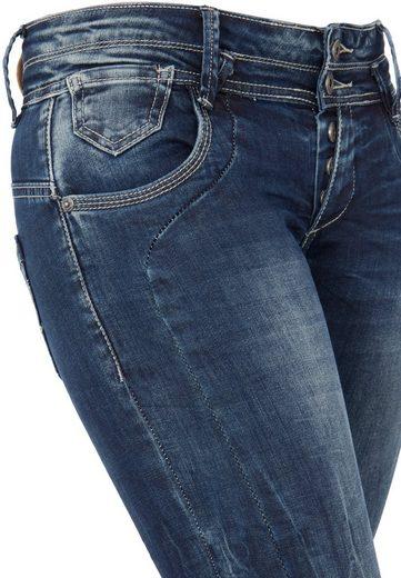 Blue Monkey Skinny-fit-Jeans Anny 1306, mit Crinkle-Effekten