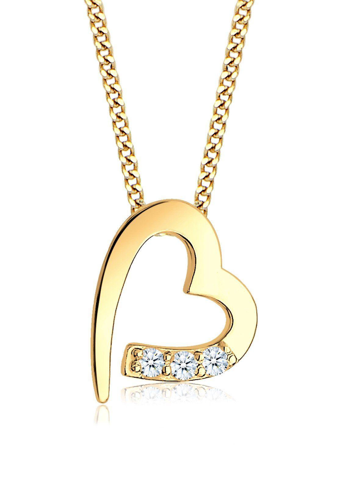 Diamore Halskette »Herz Romantisch Diamant (0.06 ct) 585 Gelbgold«
