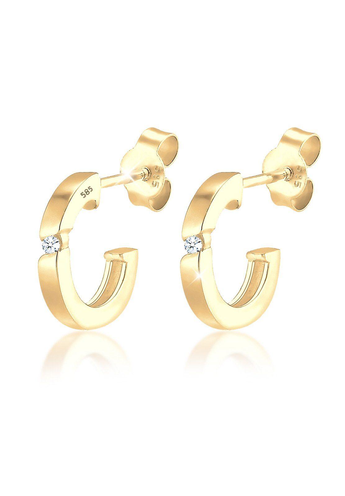 Diamore Ohrringe »Creole Diamant (0.04 ct.) 585 Gelbgold Suela«