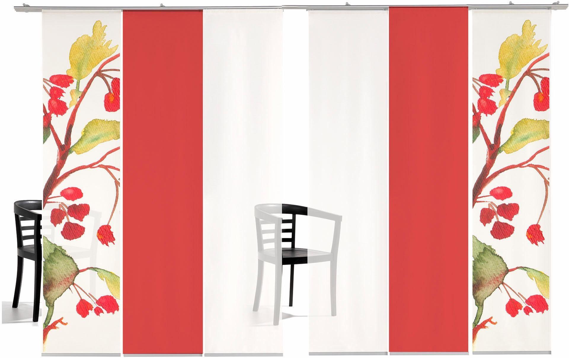 Schiebegardine »Kirschblüten Farbig«, emotion textiles, Klettband (6 Stück), inkl. Befestigungszubehör