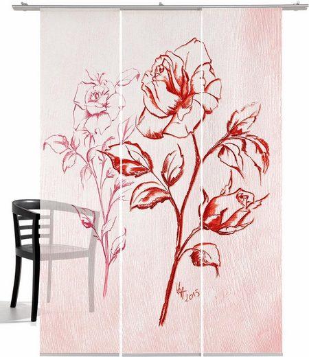 Schiebegardine »Kreide Rose HA«, emotion textiles, Klettband (3 Stück), inkl. Befestigungszubehör