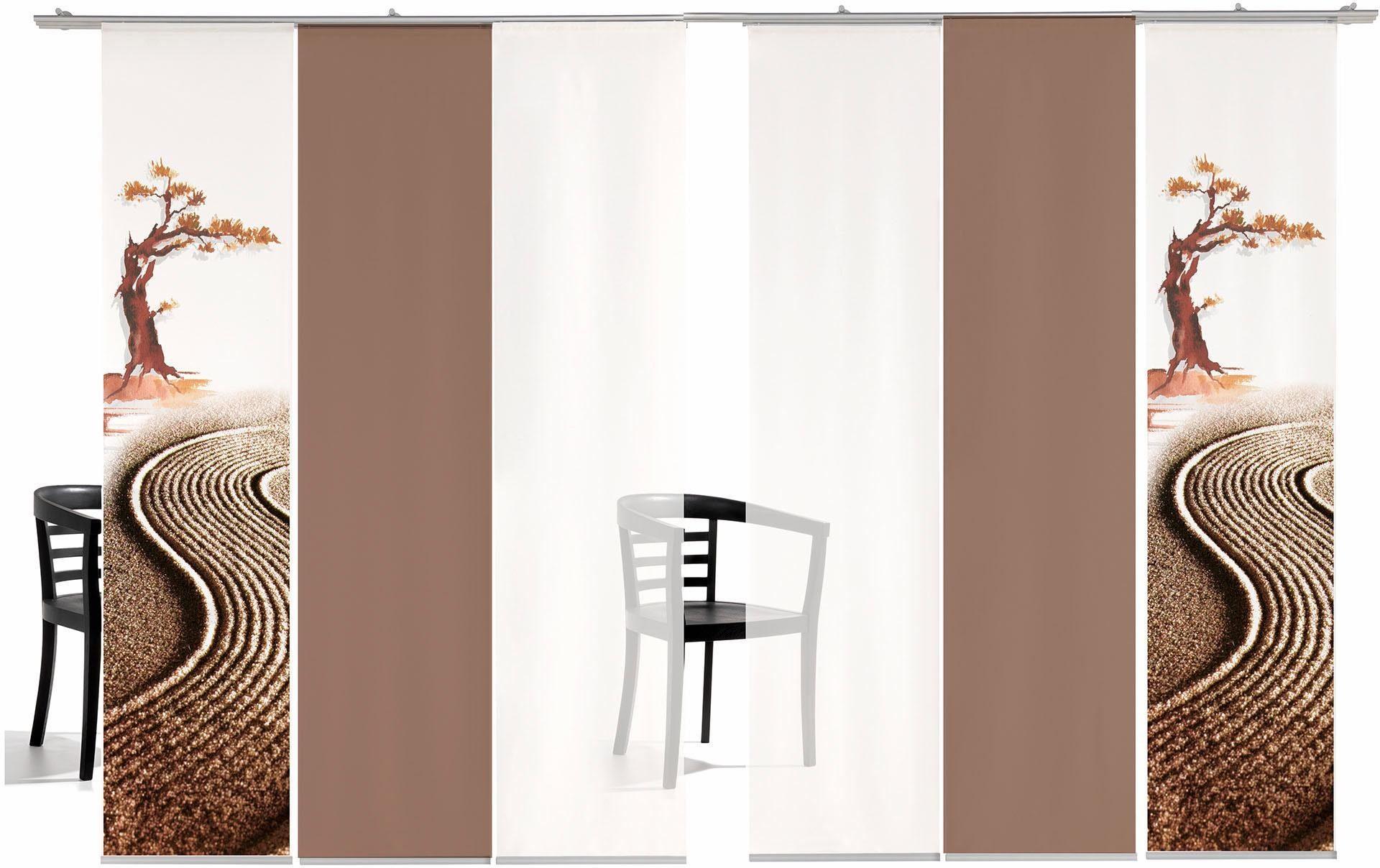 Schiebegardine »Bonsai farbig«, emotion textiles, Klettband (6 Stück), inkl. Befestigungszubehör