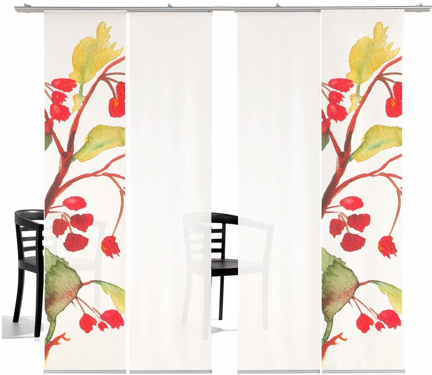 Schiebegardine »Kirschblüten HA«, emotion textiles, Klettband (4 Stück), inkl. Befestigungszubehör