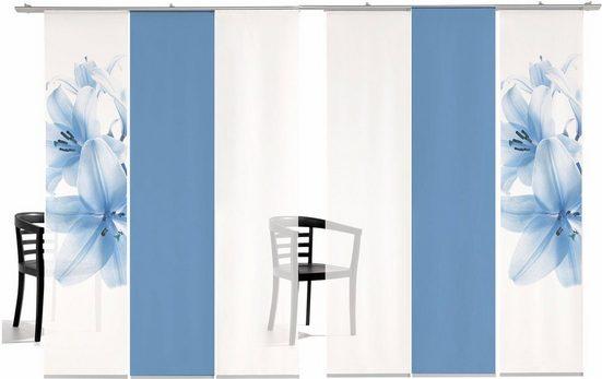 Schiebegardine »Lilie Farbig«, emotion textiles, Klettband (6 Stück), inkl. Befestigungszubehör