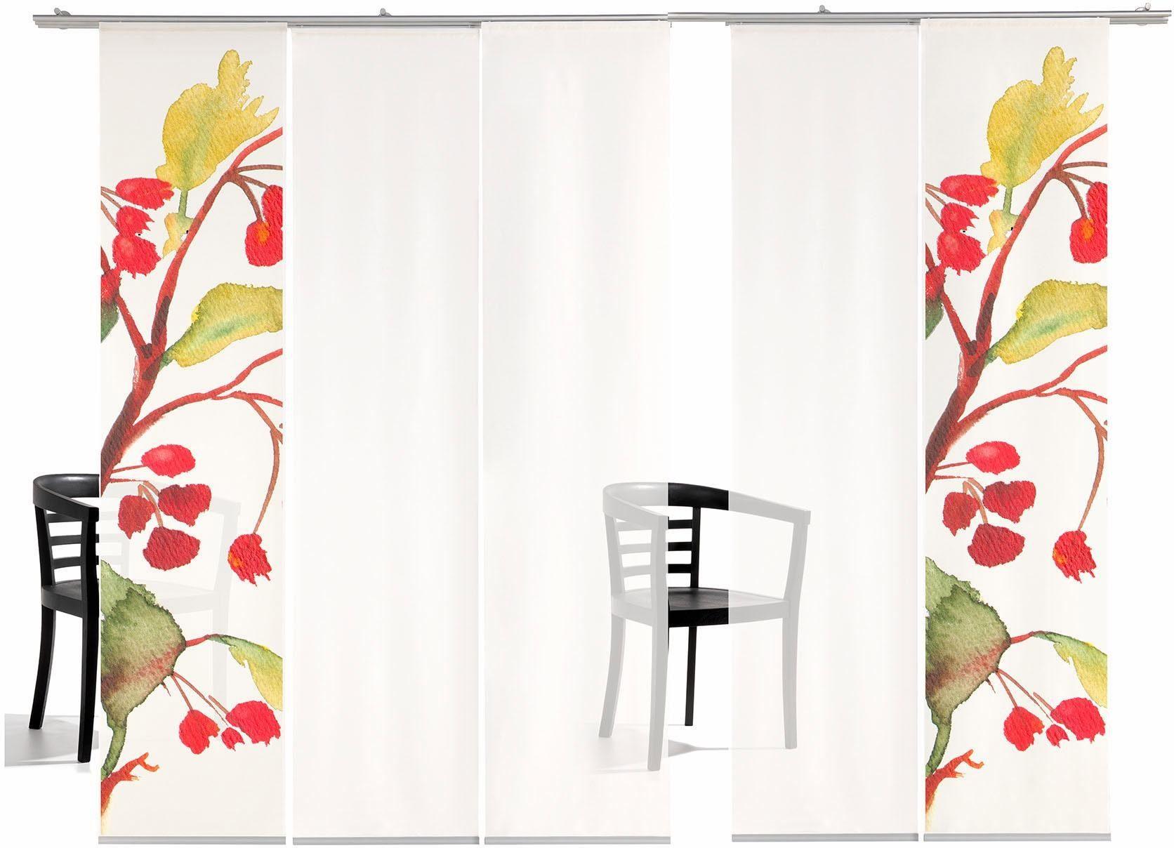 Schiebegardine »Kirschblüten TR«, emotion textiles, Klettband (5 Stück), inkl. Befestigungszubehör