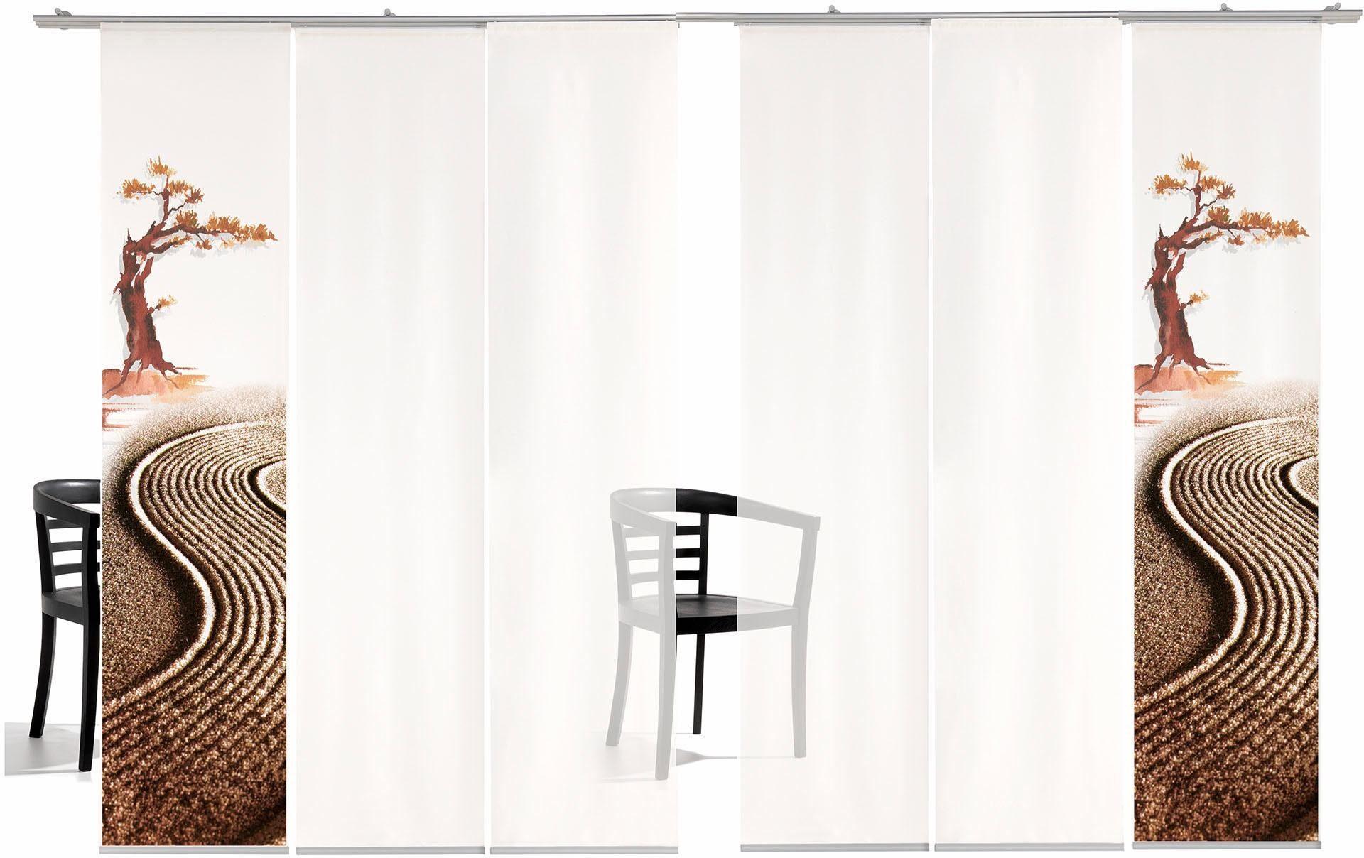 Schiebegardine »Bonsai TR«, emotion textiles, Klettband (6 Stück), inkl. Befestigungszubehör