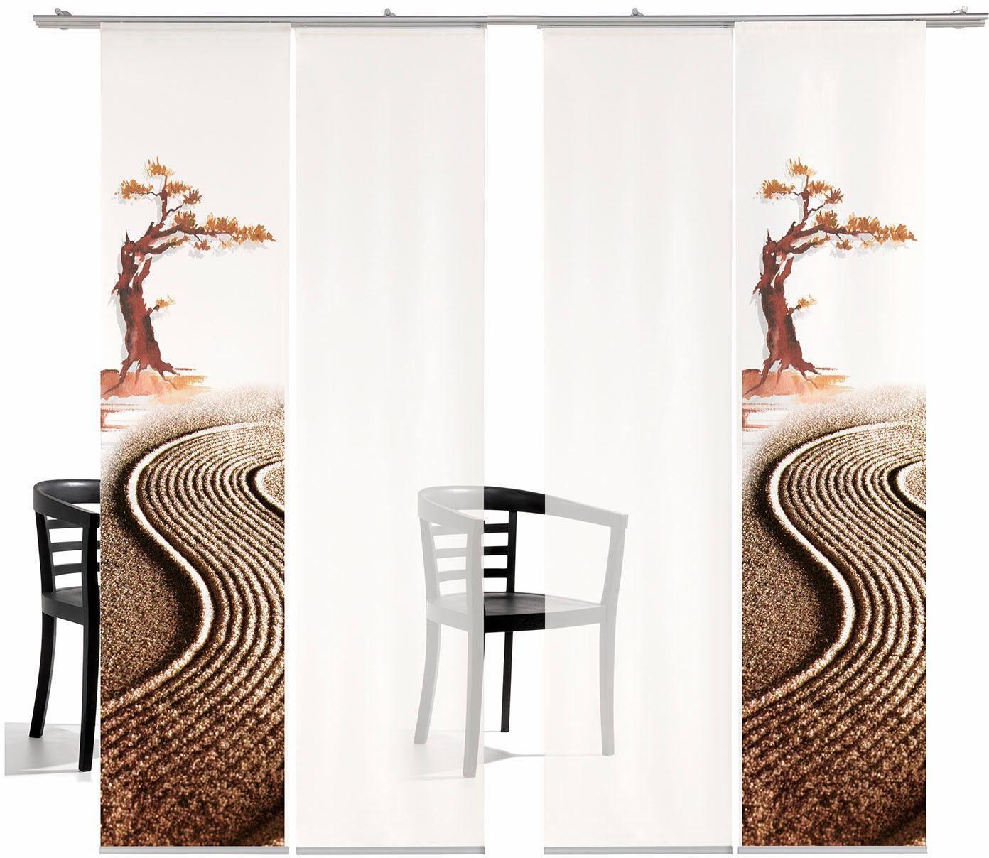 Schiebegardine »Bonsai TR«, emotion textiles, Klettband (4 Stück), inkl. Befestigungszubehör
