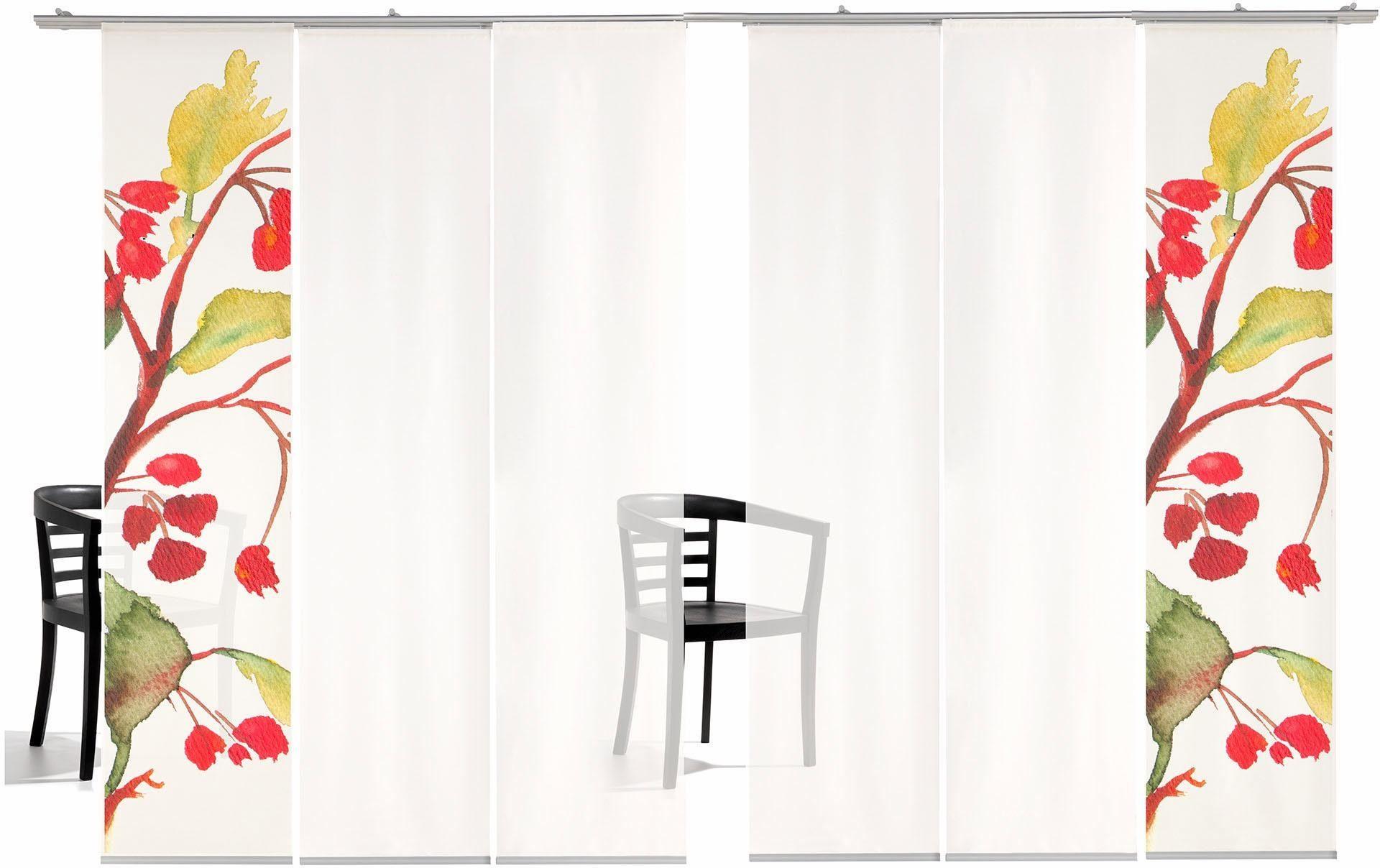 Schiebegardine »Kirschblüten TR«, emotion textiles, Klettband (6 Stück), inkl. Befestigungszubehör
