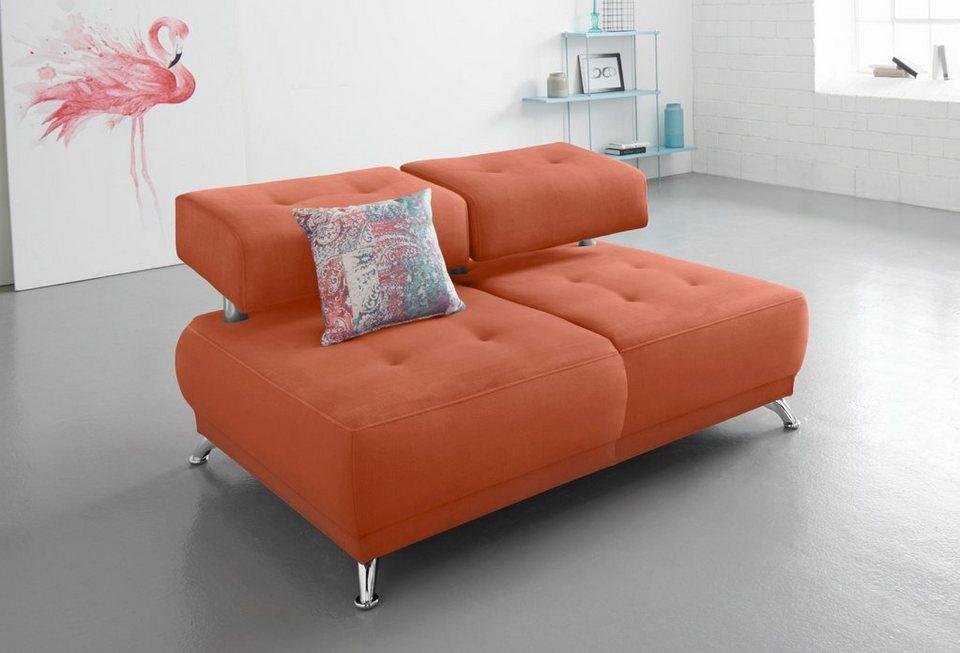 bruno banani 2 sitzer sofa mit steppung wahlweise mit kopfteilverstellung online kaufen otto. Black Bedroom Furniture Sets. Home Design Ideas