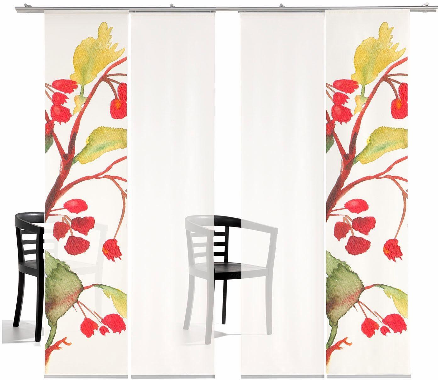 Schiebegardine »Kirschblüten TR«, emotion textiles, Klettband (4 Stück), inkl. Befestigungszubehör