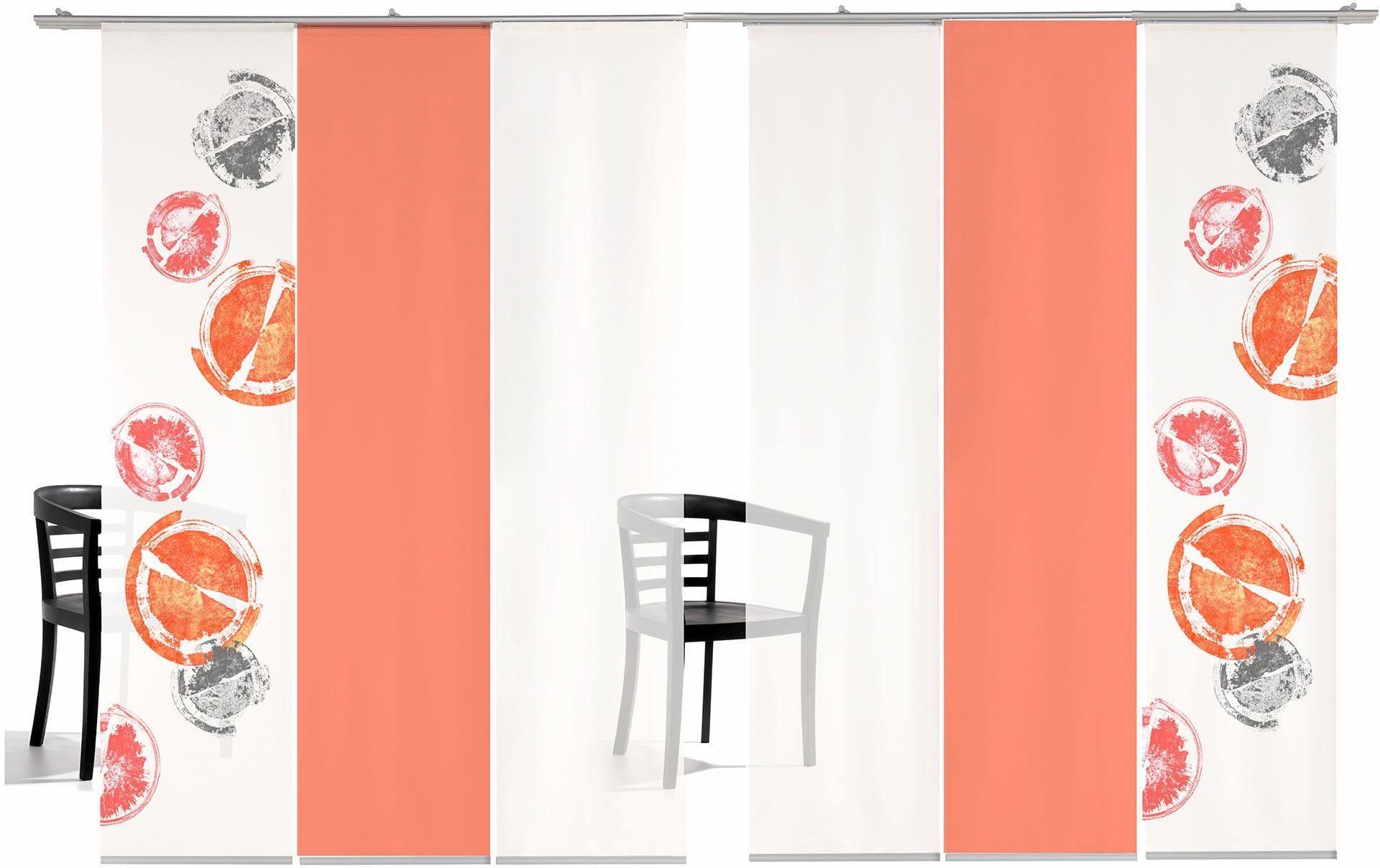 Schiebegardine »Rondo farbig«, emotion textiles, Klettband (6 Stück), inkl. Befestigungszubehör