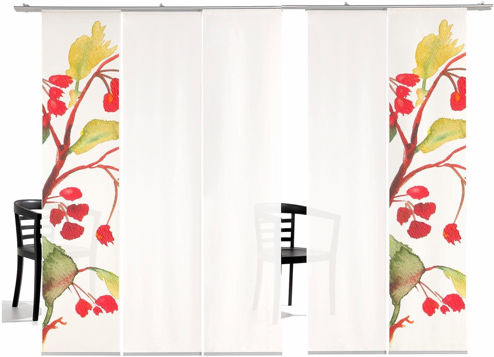 Schiebegardine »Kirschblüten HA«, emotion textiles, Klettband (5 Stück), inkl. Befestigungszubehör