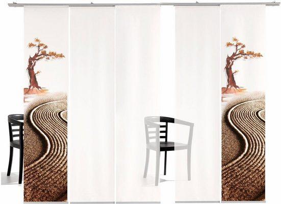 Schiebegardine »Bonsai TR«, emotion textiles, Klettband (5 Stück), HxB: 260x60, inkl. Befestigungszubehör