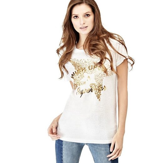 Guess SHIRT FRONTPRINT MIT PAILLETTEN