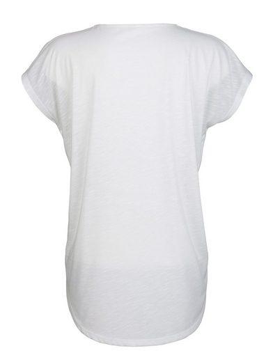 Amy Vermont Shirt mit Reißverschluss am V-Ausschnitt