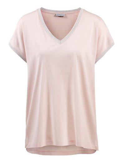 Alba Moda Shirt Mit Lurexblende am Ausschnitt und Ärmelsaum