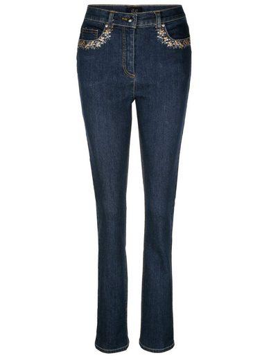 Paola Jeans mit floraler Stickerei an den Taschen