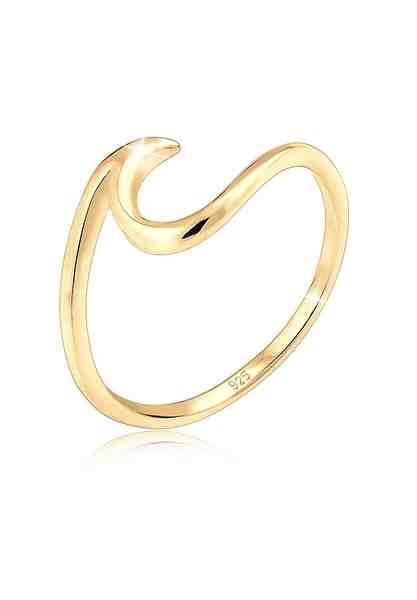 Elli Ring »Wellen Wave Strand Maritim 925 Silber vergoldet«