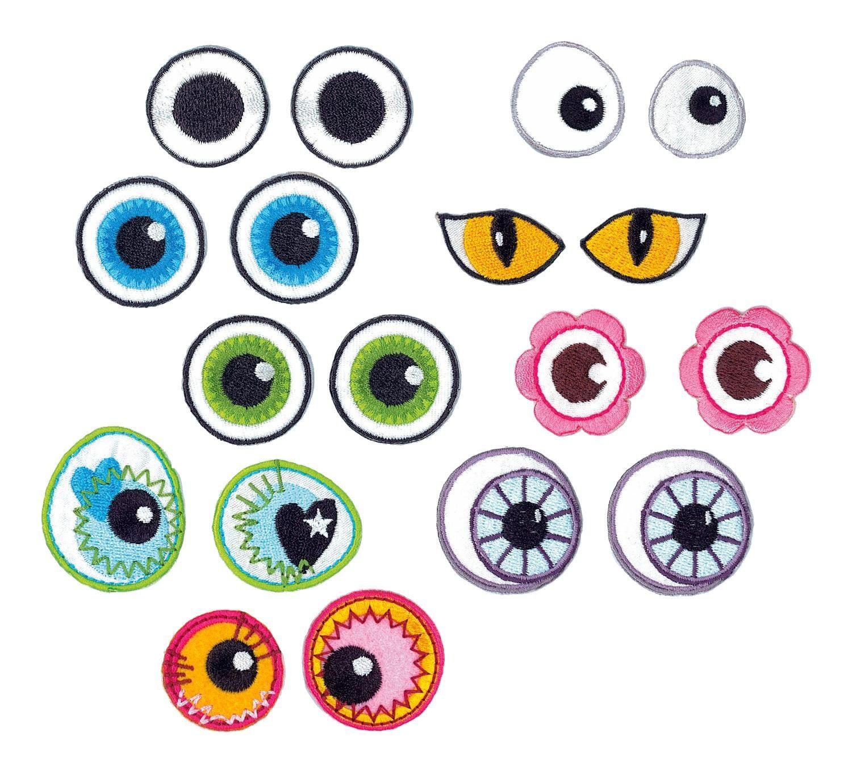 """VBS Bügel-Applikationen """"Augen"""", 9er-Set"""