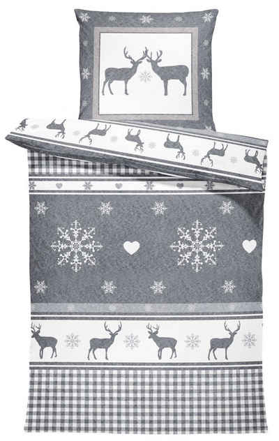 Bettwäsche »Rentiere«, One Home, Landhausstil, flauschig warmes Thermofleece 2 Teilig