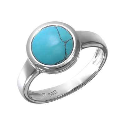 Vivance Fingerring »925/- Sterling Silber rhodiniert Türkis«, Ring