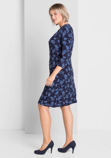 sheego Style Jerseykleid, mit raffiniertem Wickeleffekt
