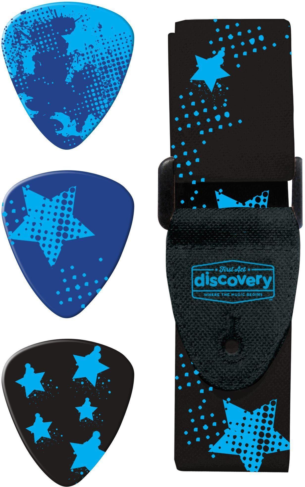 Kinder Gitarrenzubehör Gurt und Plektren, »First Act Discovery, Rockstars«